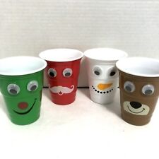 👀 Set Of 4 Christmas Beer Pong Googly Wiggly Eyes Cups Drinking Game Santa NEW