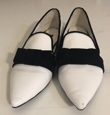 Ladies Size 37 (6) Senso White Black Loafer Flat Shoes Party EUC
