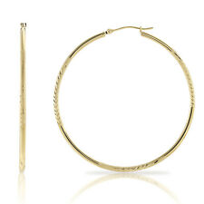 """14k Real Gold Large Hoop Earrings, Floral Diamond Cuts, 2"""", Yellow, Rose, White"""