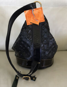 NWT~MARINO ORLANDI~Bucket Converts to SLING ~BLK Logo Embossed Leather-XL-Italy