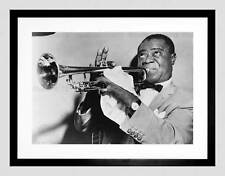 PHOTO MUSIC JAZZ LOUIS ARMSTRONG PLAYING TRUMPET JAZZ FRAMED ART PRINT B12X7587