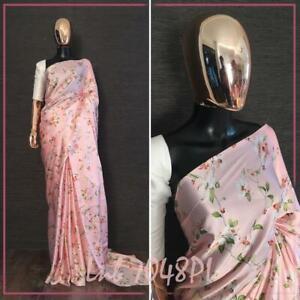Designer Satin Silk Saree Women Wedding Party Festival Floral Printed Sari