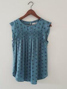 Loft By Ann Taylor M Green Floral Tunic Top/Blouse/Shirt