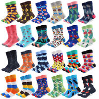 Mens Cotton Socks Novelty Colorful Avocado Flamingos Funny Casual Dress Socks