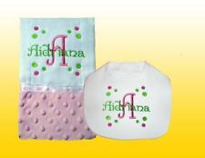 New Personalized Handmade Pink Minky Baby Girl Bib and Burp Cloth Set