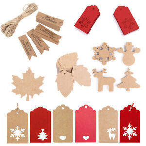 50 100 Kraft Paper Gift Tags Scallop Card Label Luggage Christmas Wedding Decor