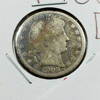 1908 D 25C Barber Silver Quarter Coin Choice AG / GOOD Circulated NEAT TONING