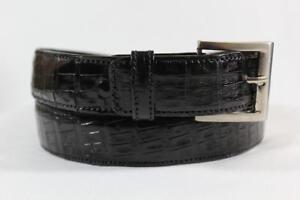 Genuine Handmade Black Alligator Leather Belt  (Made in U.S.A)