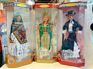 Lot of 3 Dolls of the World Barbie Dolls Northwest Coast Native, Thai, Chilean