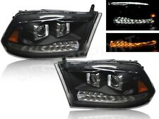 Black Projector Headlights w/ Switchback LED for 2009-2018 Ram 1500 all model