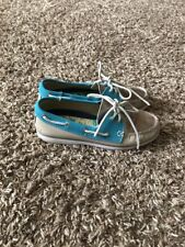 G H Bass & Co Womens 6 M Boat Shoes Leather Loafers Tan Teal / Blue Gold