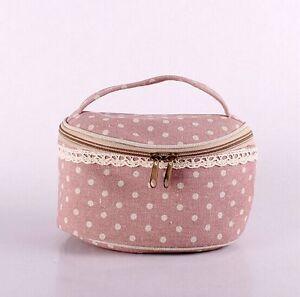 ECO-friendly Polka Dots & Checked Zakka Zip Sundries Storage Bag SNGW073