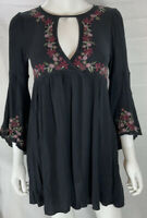 American Eagle Dress Black Size Small S Women's Bell Sleeve Embroidered EUC
