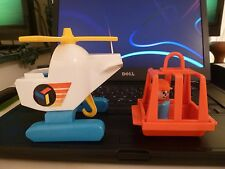 VINTAGE FISHER PRICE RESCUE HELICOPTER AND BASKET