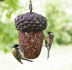 OUTDOOR HOME GARDEN HANGING NUT WILD BIRD FEEDER METAL CAGE DECORATIVE ACORN