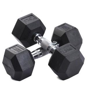Rubber Hex Dumbbells - 5kg 6kg 7kg 7.5kg 8kg 9kg 10kg 12kg 12.5kg 15kg FREE POST