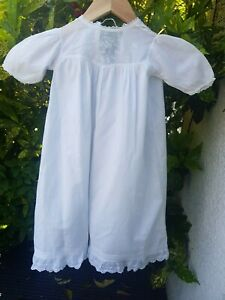 Antique White Baby Night Dress Gown Christening