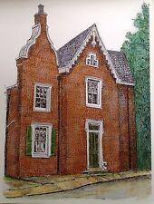 Brick Cottage - US, Small, Architecture, Pen, Ink, Cityscape, Reproduction