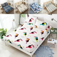 3pcs Set Cotton Fitted Sheet Bed Sheets Pillow Cases Single Double King Size