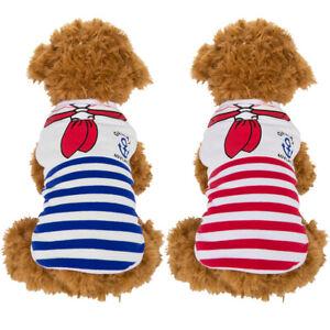 Small Pet Dog Puppy Cotton Fleece Stripe Sailor Vest Sweater Winter Warm Clothes