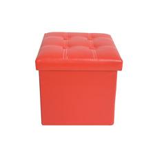 Mobili Rebecca Pouf Puff Contenitore Rosso Poggiapiedi Sgabello (s5h)