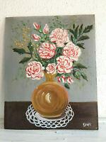 tableau ancien huile sur panneau E JOYE (XXe-s) nature morte aux fleurs