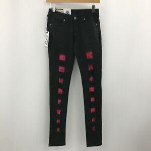 New Criminal Damage Jeans Women's W26 Regular Black Pink Skinny Trousers 183102