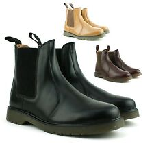 Mens New Leather Chelsea Dealer Gusset Dress Shoes Boots Size Free UK Postage