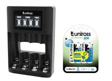 UNiROSS SMART FAST 3-5 HR LCD CHARGER+ 4 x AA 800 UNiROSS BATTERIES-MICRO USB