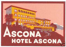 LUGGAGE LABEL SWISS ASCONA HOTEL ASCONA