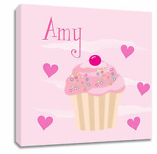Bambini Personalizzata Nome Cupcake Tela arte immagine