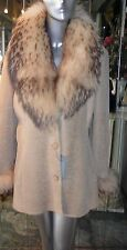 GORGEOUS Genuine SHEARLING FUR Short Coat TANUKI FUR COLLAR Beige XL
