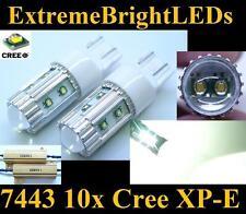 TWO HID WHITE 50W 10x Cree XP-E 7440 7443 Turn Signal Lights + Load Resistors