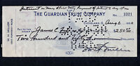 1908 Notre Dame Captain All-American Red Miller Signed Check Fighting Irish Hero