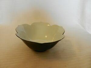 "Black and White Ceramic Rice Bowl or Salad Bowl Floral Shape 6"" Diameter"