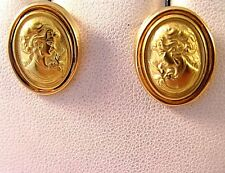 18K 750 Green Yellow Gold VINTAGE CAMEO STUD Oval EARRINGS 5.2Gr Butterfly Post