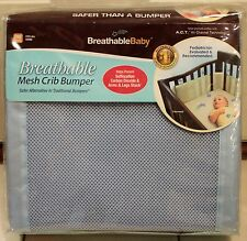 BREATHABLE BABY MESH CRIB BUMPER Blue Bedding Safer Infant Shower Gift Boys NEW