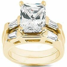 1 ct Radiant cut Diamond Ring Bridal Set 14k Yellow Gold SI1 clarity