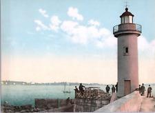 France, Cannes. Le phare. vintage print photochromie, vintage photochrome  1
