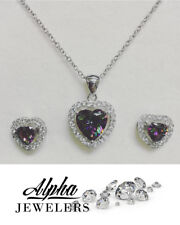 Pendant and Heart Earring Set Alpha Jewelers: Sterling Silver Necklace Heart