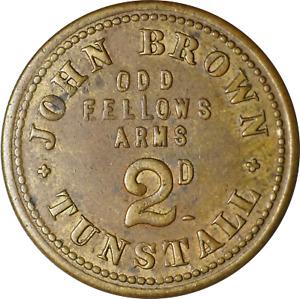 UK Victoria Brass Pub Token John Brown Odd Fellows Arms 2d Tunstall VF