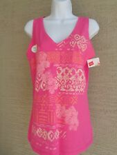 Hanes Cotton S Jersey V  Neck Wide Strap Graphic Tank Top Pink Multi