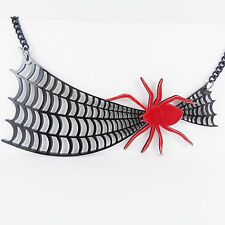 BIG SPIDER & WEB NECKLACE emo scene halloween kitsch kawaii lolita goth horror