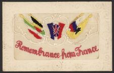 "WW1 Embroidered Silk Postcard ""Remembrance from France"" & Allied Flags on Flap"
