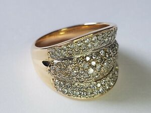 BEAUTIFUL SECONDHAND 14ct YELLOW GOLD DIAMOND COCKTAIL RING SIZE N 1/2