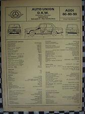 rare AUDI 60 80 90  AUTO-UNION   /  FICHE TECHNIQUE L'EXPERT AUTOMOBILE