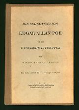 EDGAR ALLAN POE * 1949 German study by Harro Heinz Kuhnelt * Die Bedeutung von..