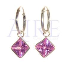 Genuine Sterling Silver - Small Sleeper Style Hoop Earrings with Pink Stone