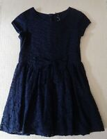NEXT Girls Navy Blue Floral Lace Overlayed Summer Dress Casual Party 7-8 years
