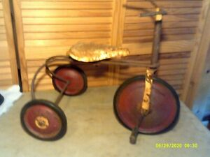 Antique Tricycle Collectible Tricycle Bike Red Wheels Home Decor